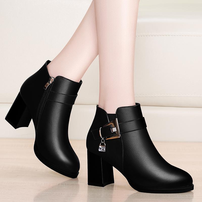 2019秋冬季新款中跟短靴女单鞋韩版百搭粗跟马丁靴厚底高跟女靴子