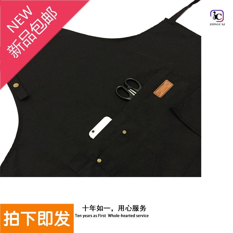 帆布围裙定制印字防水奶茶咖啡店餐厅美甲包邮韩版时尚男女工作服