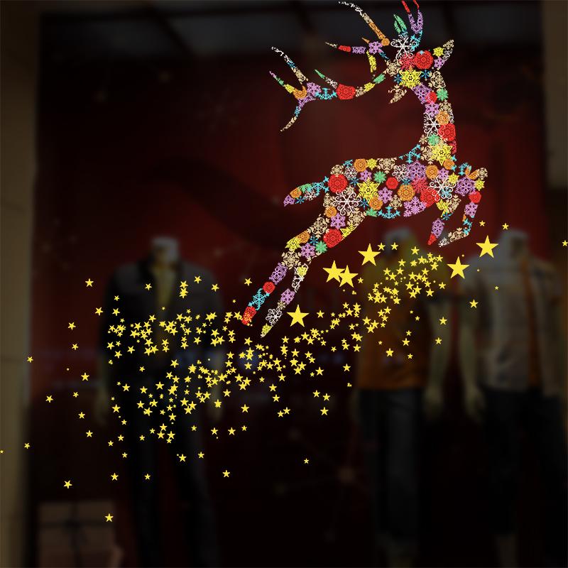 圣诞橱窗贴玻璃窗户雪花飞鹿静电贴