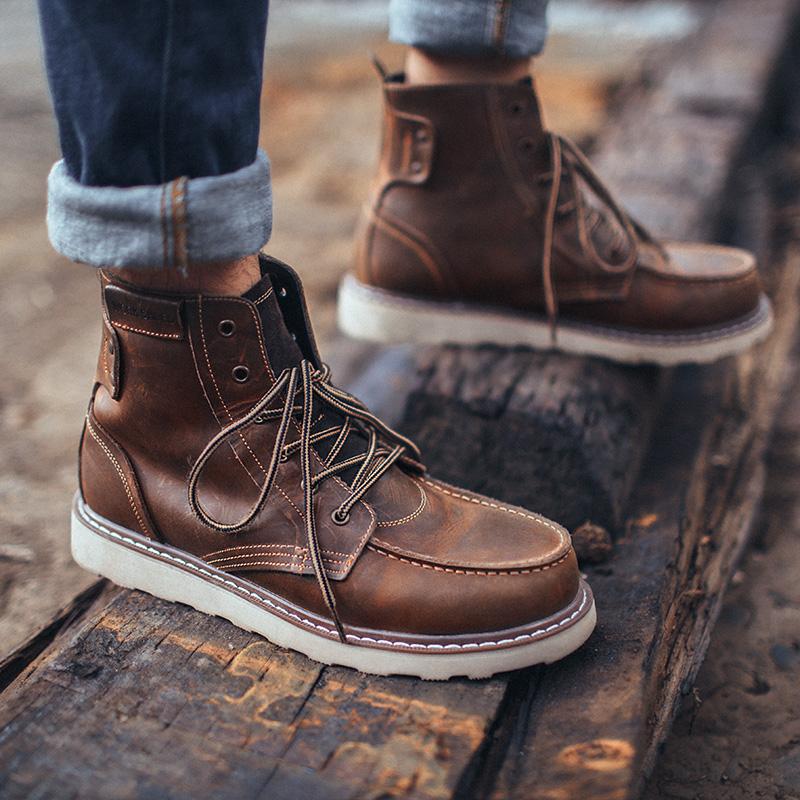 MRA高帮马丁靴男靴英伦风百搭中帮短靴工装靴男鞋英伦风潮靴子