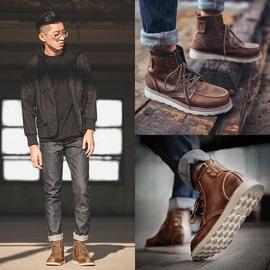 马丁靴男士靴子高帮工装靴男靴英伦风中帮男鞋冬季加绒雪地短靴潮图片