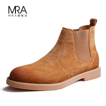 Chelsea Boots Men's winter shoes high top Martin boots men's boots British style plush cotton shoes middle top short boots trend