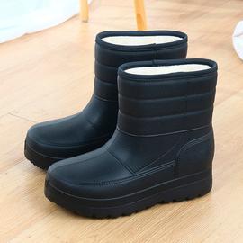 加绒男雪地靴保暖雨靴洗衣洗车厨房防水鞋棉鞋轻便高帮工作鞋雨鞋图片