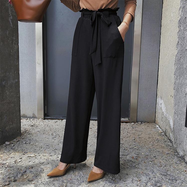 秋款莫代尔高腰阔腿裤女生垂感休闲裤长空调裤拖地裤直筒长裤