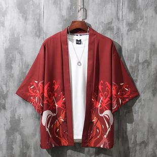 道袍七分袖衬衫男女情侣薄款宽松防晒外套古风kimono中国风男装潮