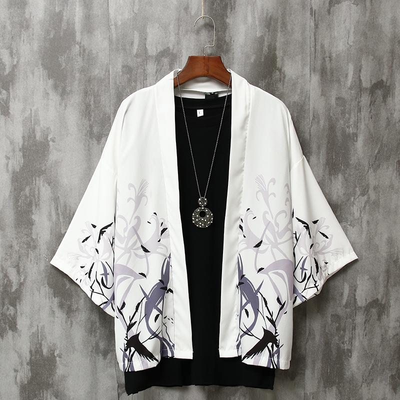 夏季七分袖衬衫男宽松中国风男装防晒外套薄款古风很仙的情侣道袍图片