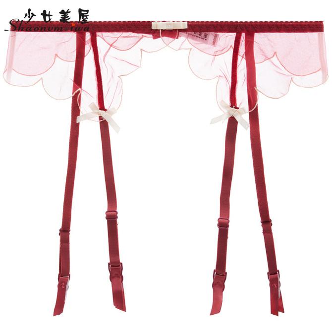 透视诱惑女士大码 少女美屋欧美透明网纱性感吊袜带套装
