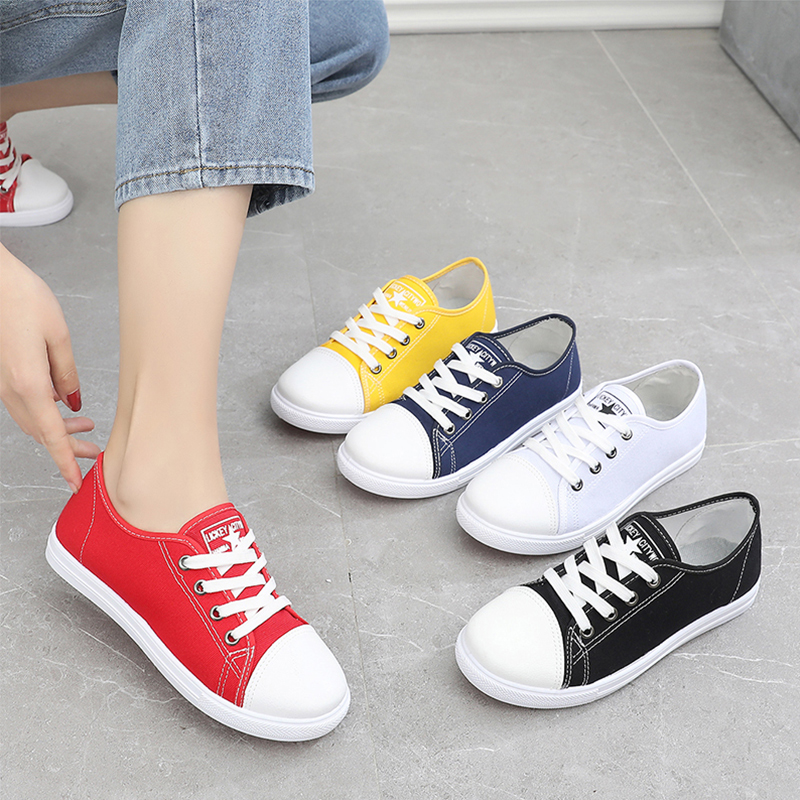 Summer old Beijing cloth shoes womens lace up flat bottomed casual canvas shoes non slip comfortable breathable Korean student shoes