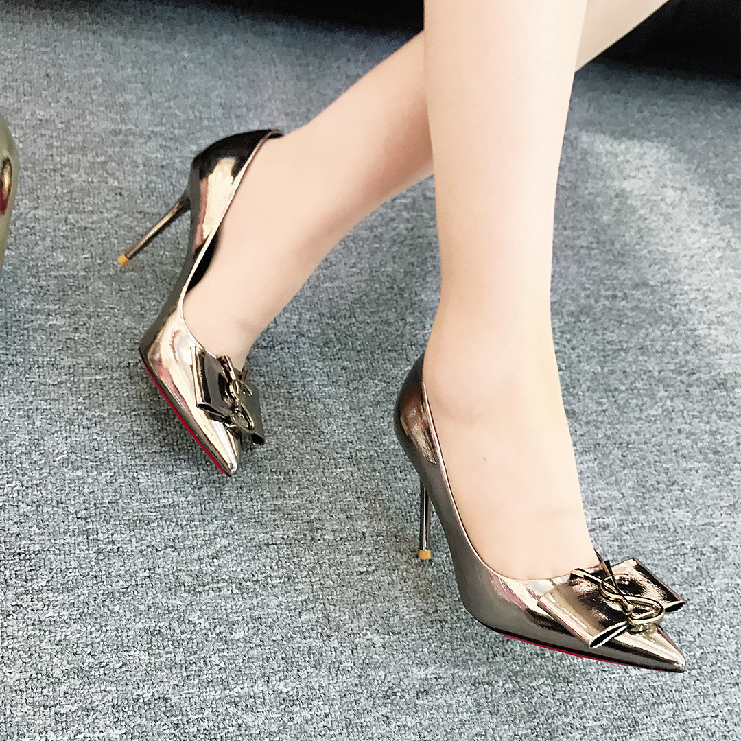 2020 new womens shoes: golden bird high heeled shoes with pointed end, comfortable and sexy personality, single shoe, high heeled shoes with slim heel