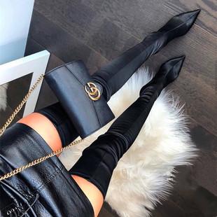 长靴女过膝2020新款 瘦瘦靴细跟高跟绸缎高筒靴尖头包腿袜靴弹力靴