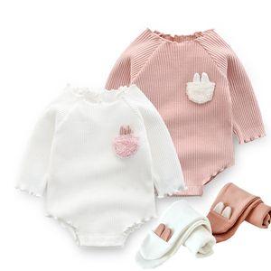 春秋 新生儿爬服 女宝宝长袖3个月哈衣 婴儿纯棉6兔子连体衣0-1岁