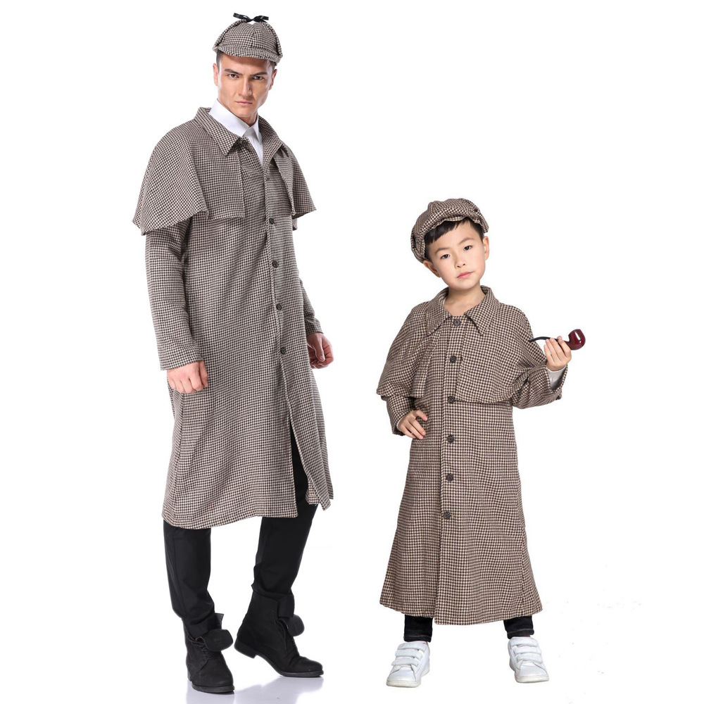 Halloween Costume Adult boy role play Sherlock Holmes parent-child suit stage costume