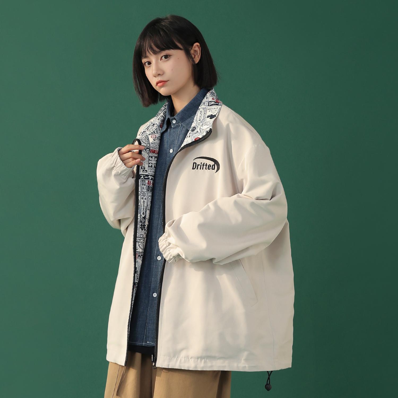 TUOKE脱壳立领两面穿工装外套2021年新款女百搭韩版宽松夹克潮ins