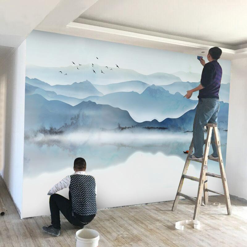 3d电视背景墙布新中式山水壁纸古风典墙纸水墨画中国风客厅5d壁画