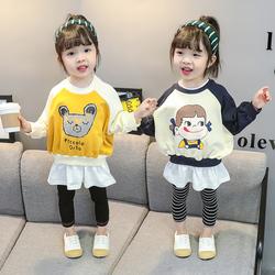 女童秋装卫衣洋气假两件长袖卫衣裙2020年秋季女宝宝春秋儿童上衣