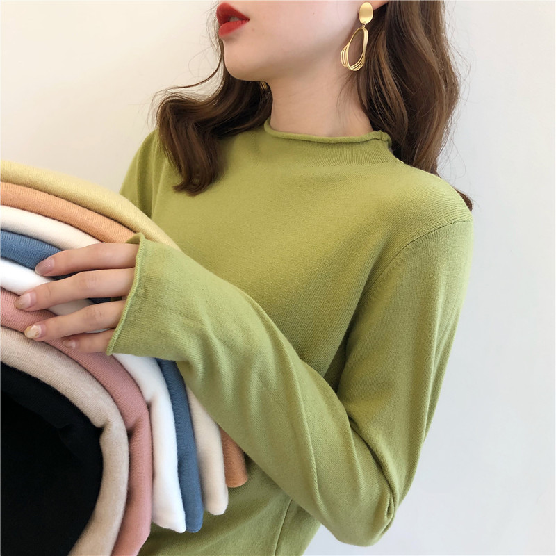 Avocado green sweater for women in autumn and winter