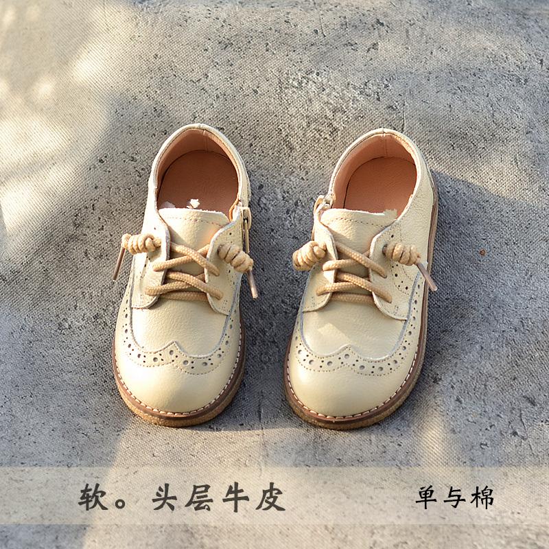贝然童鞋男女童单鞋复古休闲皮鞋真皮2020春秋款宝宝鞋棉鞋演出鞋