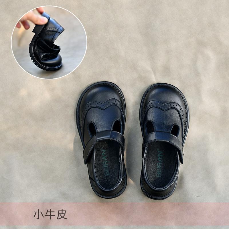 贝然童鞋女童皮鞋真皮公主鞋黑色单鞋英伦风儿童皮鞋婴童软底秋款