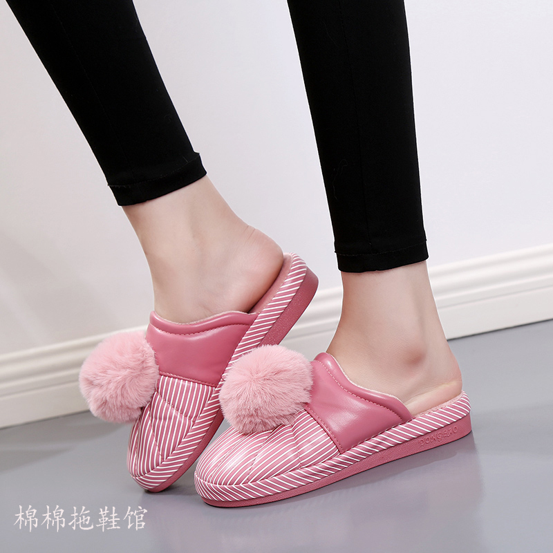 Cotton slippers womens home anti-skid autumn and winter warm indoor and outdoor wearing thick bottom wool ball new slope heel PU leather