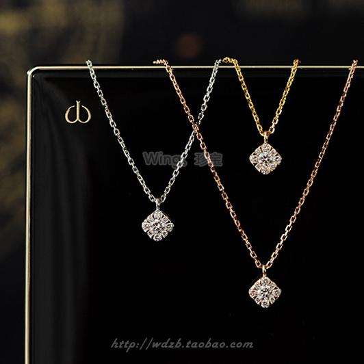 【Сокровища крыла】Роза цвет , 18k золото квадратное мягкое бриллиантовое ожерелье