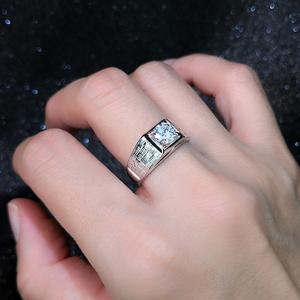 一克拉莫桑钻小众设计个性结婚男款情侣婚戒锆石钻石戒指男仿