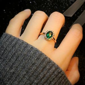 小鸽子蛋指环日韩仿碧玺祖母绿蓝宝石紫水晶镀金满钻女红宝石戒指