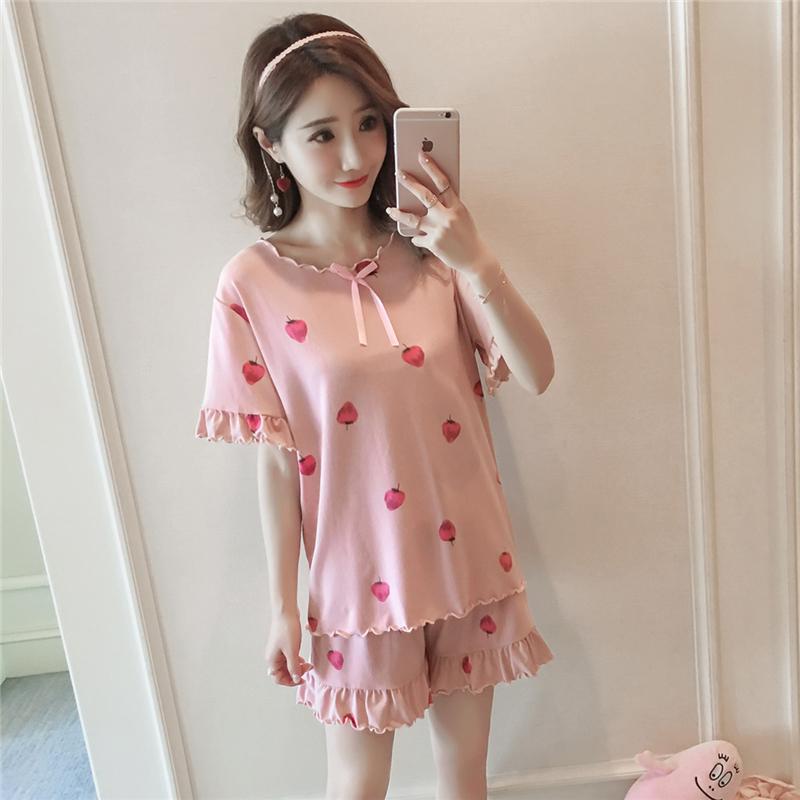春夏�b2018新款女�b�n版短袖草莓甜美家居服�杉�套睡衣套�b女衣服