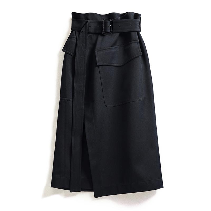 One piece skirt with black drape feeling new slim bud skirt in autumn 2020 high waist split middle and long skirt