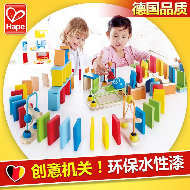 Германия Hape домино кость карты творческий орган ребенок куски деревянный строительные блоки ребенок интеллект головоломка игрушка