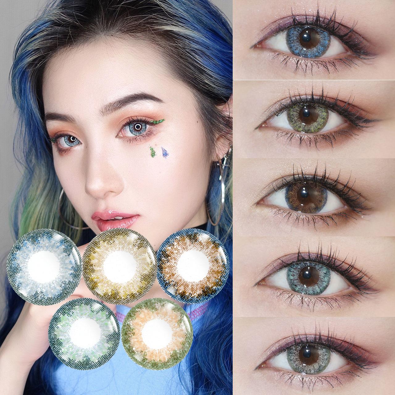韩国DREAMCON混血美瞳大小直径灰色蓝色彩色隐形近视眼镜年抛KB