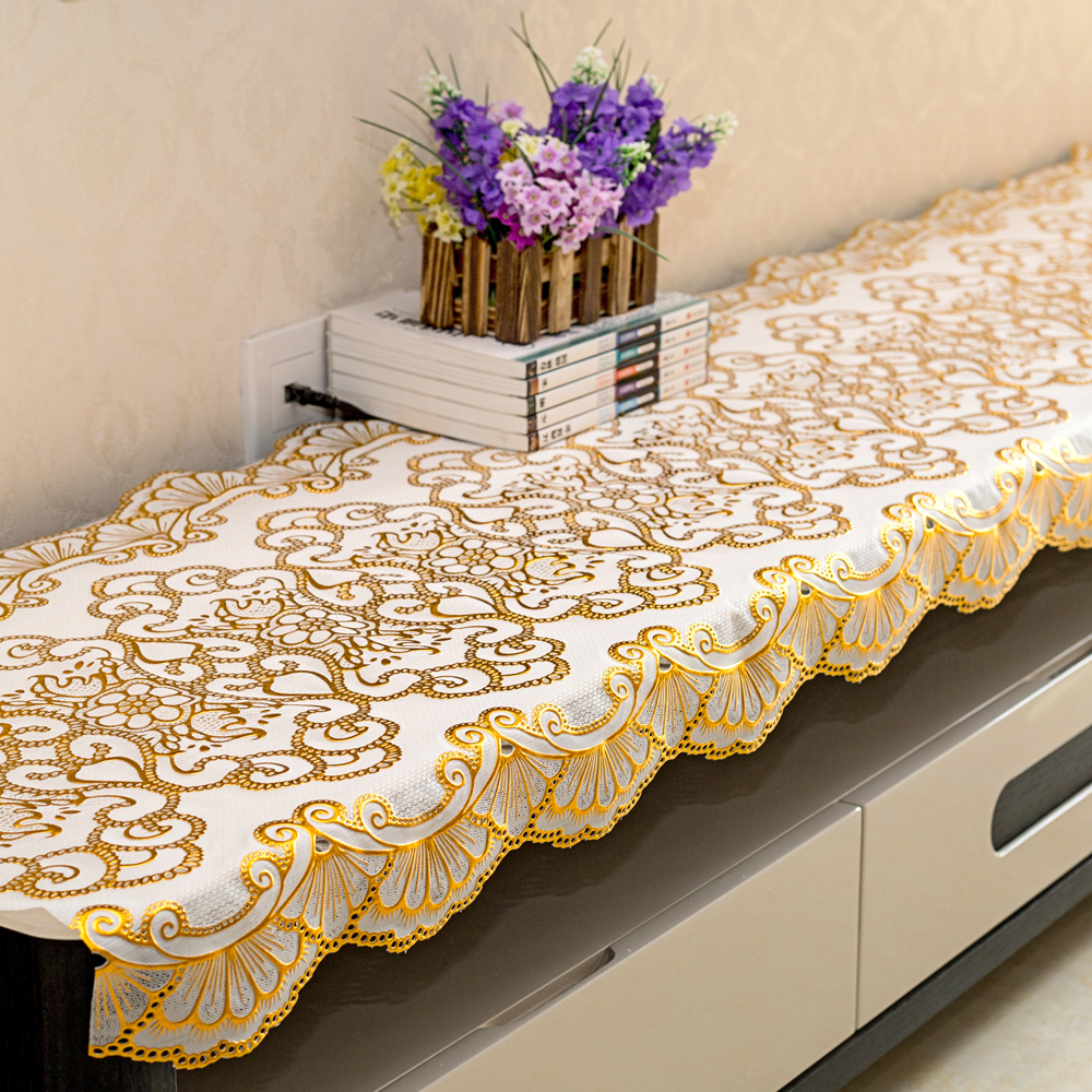 European PVC TV cabinet tablecloth rectangular wash free waterproof pastoral tablecloth tea table mat shoe cabinet bedside table cover cloth