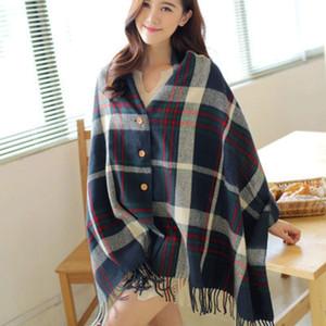 韩版新款春秋空调房羊绒女士斗篷披肩春夏两用加厚简约格子围巾