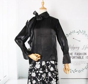 S珂 2020春季女装 时尚气质优雅 绑带 亮面 百搭长袖衬衫KL635