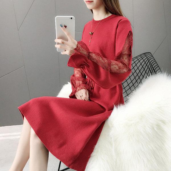 红色毛衣女过膝宽松2020年秋冬新款中长款打底连衣裙秋装针织衫潮图片