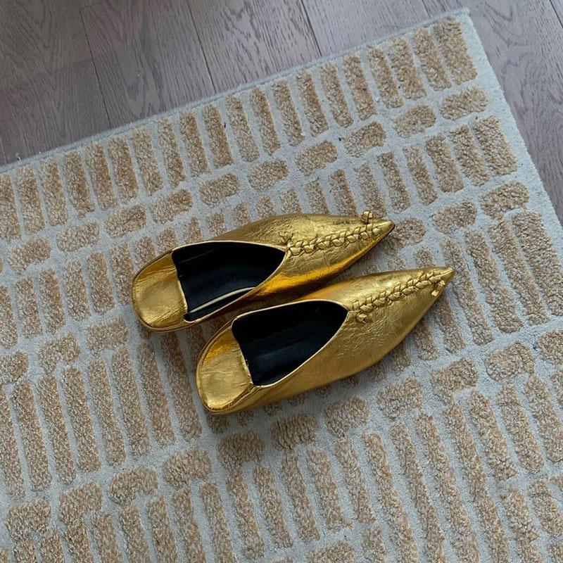 阿希哥同款休闲外穿平底鞋夏季尖头编织踩跟单鞋女套脚时装凉鞋子