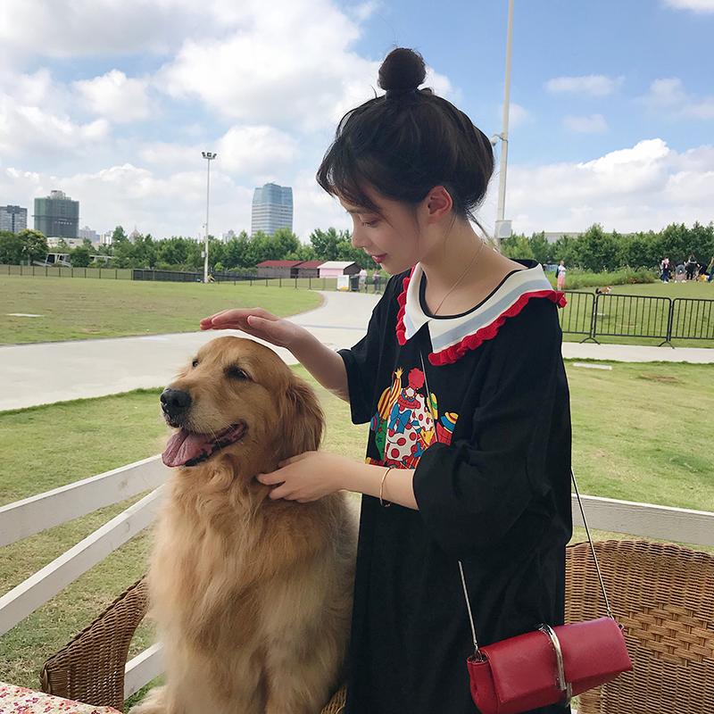 娃娃领中长款T恤连衣裙 韩版学生宽松女2018夏季新款小个子娃娃裙