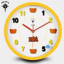 北极星12英寸可爱卡通创意挂钟儿童房卧室静音石英钟客厅钟表挂表