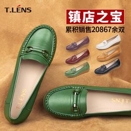 頭層牛皮淺口女皮鞋春秋款低跟軟底舒適牛筋底媽媽皮鞋豆豆鞋中年圖片