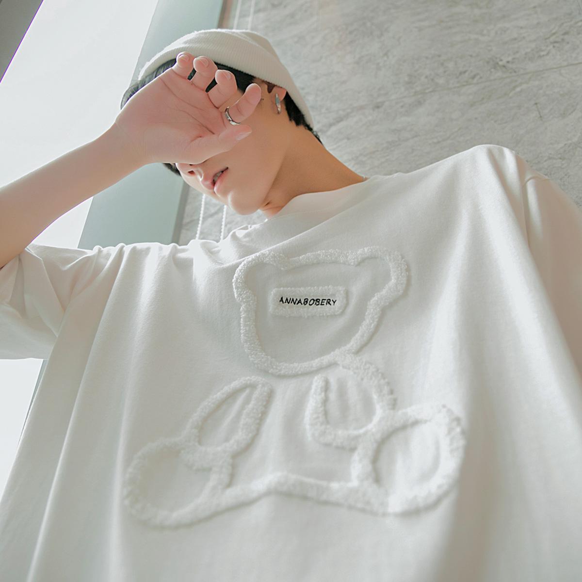 西西里男装小熊短袖t恤男2021年新款植绒印花白色体恤衫宽松上衣