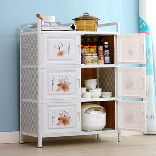 放碗柜家用厨房经济型厨房橱柜置物柜收纳柜餐边铝合金储物柜简易
