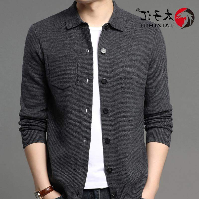 Imported brand young and middle-aged mens Lapel cardigan coat woolen sweater autumn coat pocket sweater loose