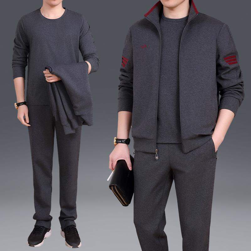 361 official website famous brand middle aged and elderly long sleeve Lapel sports suit mens autumn casual sportswear large size width