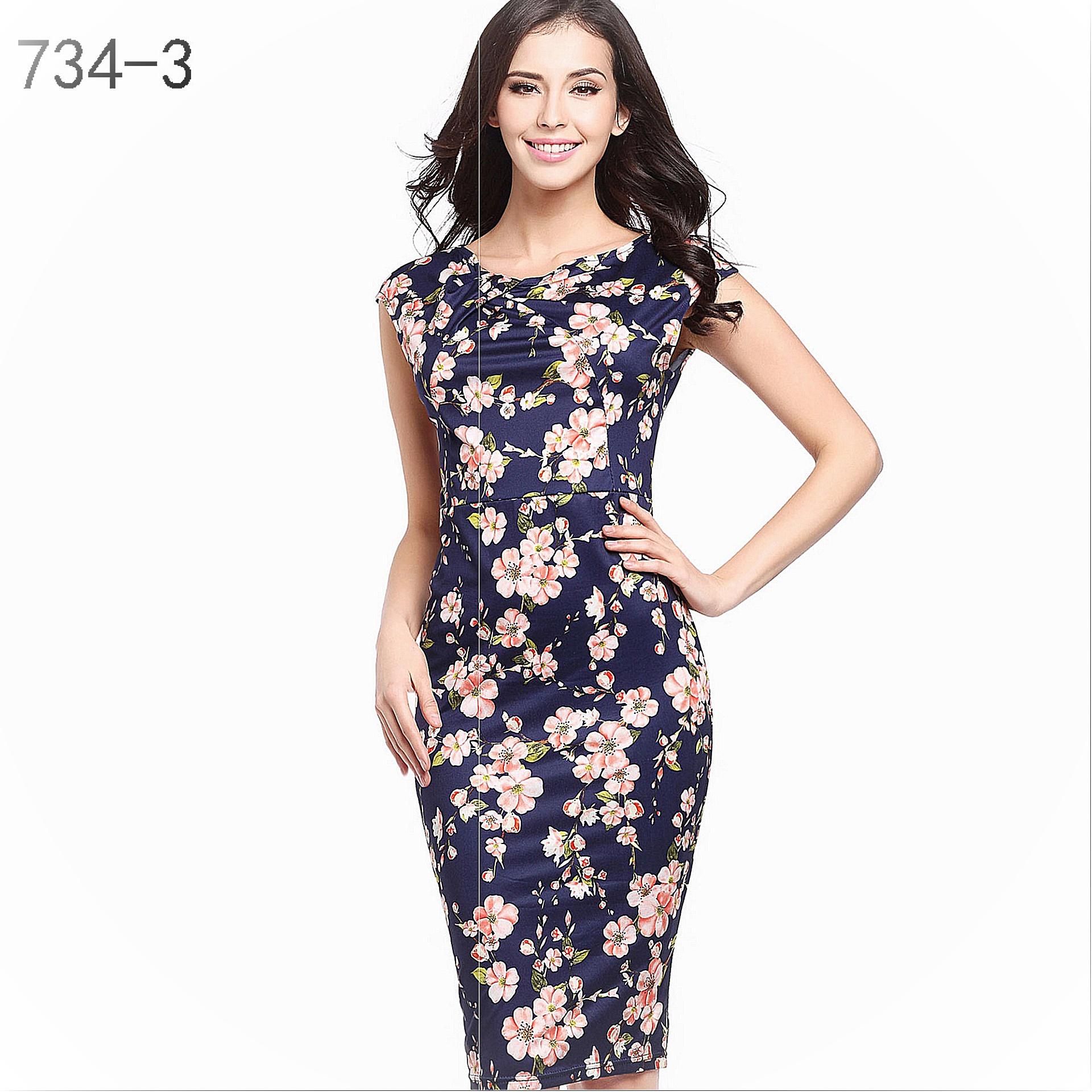 2019ebay express Europe and America fashion print dress slim and slim large medium length pencil skirt