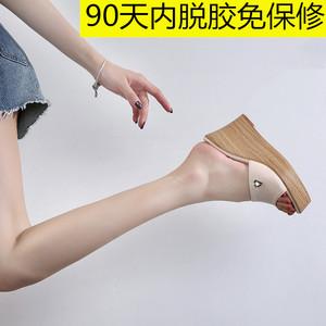 2020坡跟拖鞋女夏外穿高跟厚底简约显瘦百搭时尚小码拖鞋313233潮