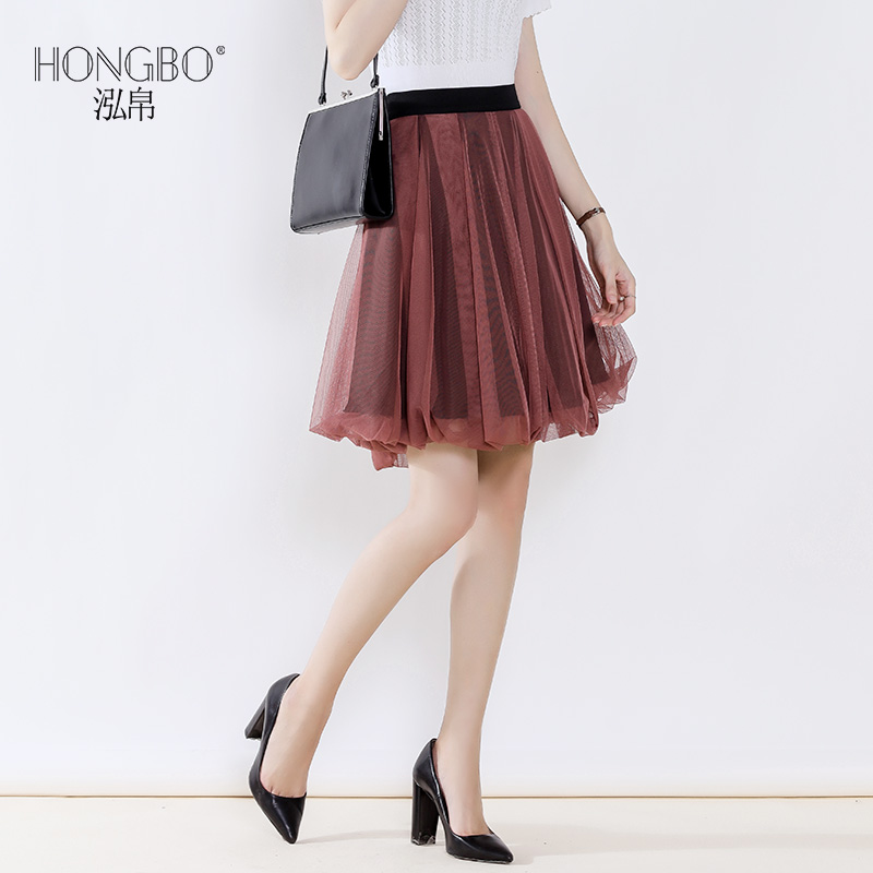 Hong silk 2020 spring and summer short skirt with high waist showing thin and all kinds of pleats mesh skirt with women's elastic waist temperament A-line skirt