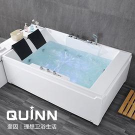 1.7米/1.85米双人浴缸按摩冲浪独立式亚克力情侣恒温加热豪华浴缸图片