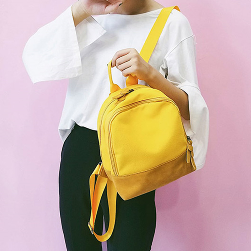 Canvas Backpack womens new Harajuku ulzzang personalized backpack Mini color contrast trend Korean fashion bag