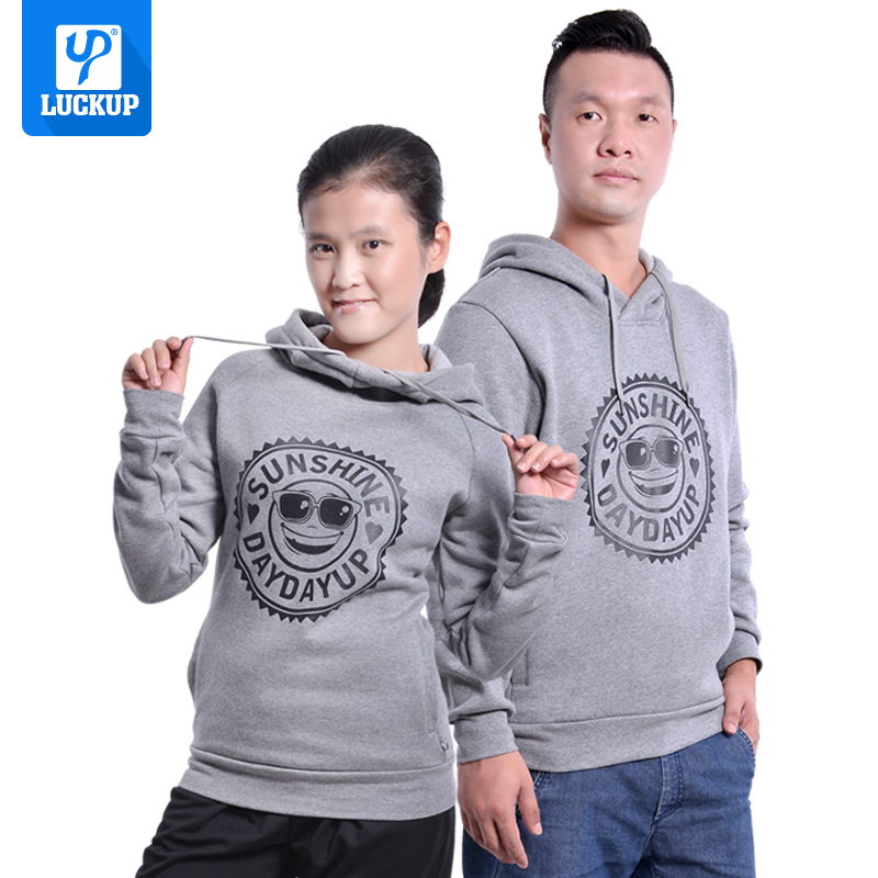 Lucky couple spring and autumn winter sunshine smile pattern hooded warm Plush sweater Pullover