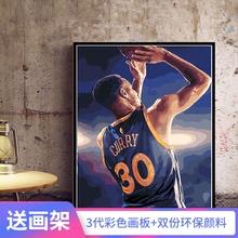 数字油彩画diy油画人物NBA篮球明星手绘填色手工装饰画詹姆斯库里