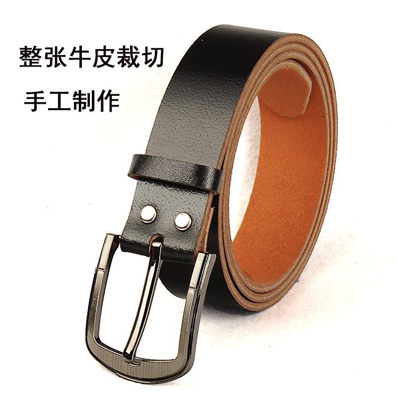 针扣牛皮男式皮带手工制作真皮打孔腰带中年爸爸款整张纯牛皮裁切
